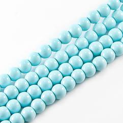 Жемчуг Monisto Стекло Глянецевый 10мм Цвет: Голубой около 85шт/нить
