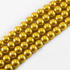Жемчуг Monisto Стекло Глянецевый 10мм Цвет: Золотистый около 85шт/нить