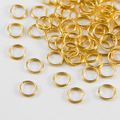 Колечки Двойные, Железные, Цвет: Золото, Размер: 6мм, Толщина 0.7мм, 50г/около 390шт, 50 г