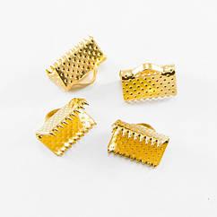 Концевики Зажимы для Лент Monisto Железо 10х7мм Цвет: Золото 20шт