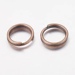 Колечки Двойные, Железные, Цвет: Медь, Размер: 6мм, Толщина 0.7мм, 50г/около 390шт, 50 г