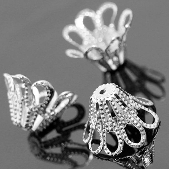 Конус Шапочки для Бусин, Железные, Цветок, Цвет: Платина, Размер: 14х9мм, Отверстие 1мм/ Упак.: 50 шт