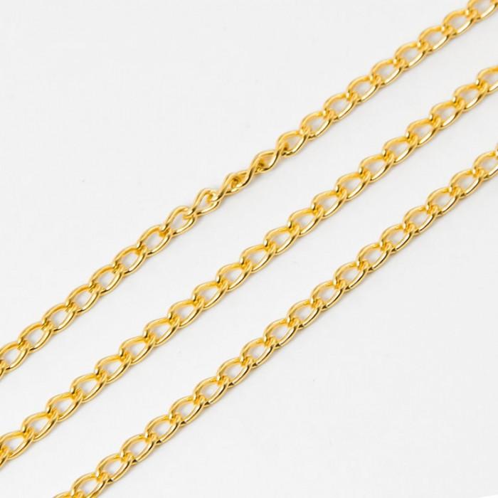 Цепь Витое Плетение, Железо, Цвет: Золото, Звено: 3.7х2.5мм, Толщина 0.7мм/ Упак.: 5 м