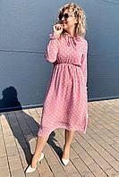 Милое шифоновое платье миди в горох Pintore - пудра цвет, 46р (есть размеры), фото 1