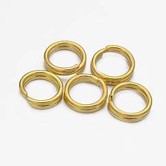 Колечки Двойные, Железные, Цвет: Золото, Размер: 7х1.4мм, Внутренний Диаметр 6.3мм, 50г/около 380шт, 50 г
