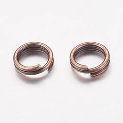 Колечки Двойные, Железные, Цвет: Медь, Размер: 5мм, Толщина 0.7мм, 50г/около 600шт, 50 г