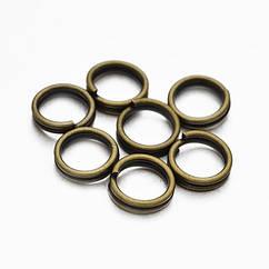 Колечки Двойные, Железные, Цвет: Бронза, Размер: 5мм, Толщина 0.7мм, 50г/около 600шт, 50 г