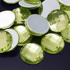 Акриловые Стразы - Кабошоны, Граненые, Плоские Круглые, Цвет: Желто-зеленый, Размер: 12х4мм, 50 шт
