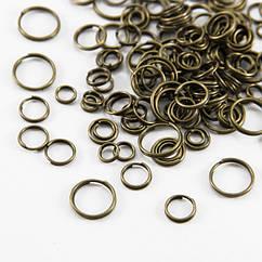Колечки Двойные, Железные, Микс, Цвет: Бронза, Размер: 4~10мм, Толщина 0.8мм, 50г/около 530шт, (УТ0005750)
