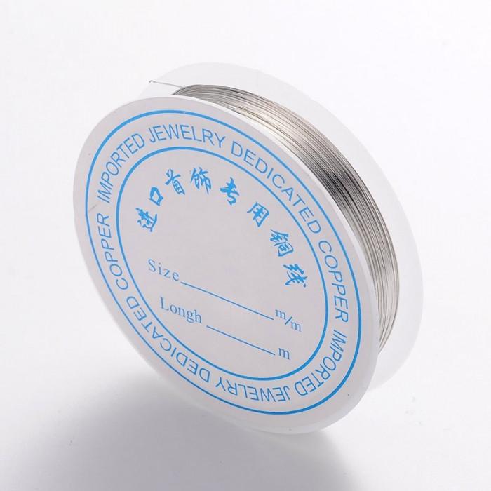 Медная Проволока 1мм/2м, Цвет: Серебро, Толщина 1 мм, около 2м/катушка/ Упак.: 1 шт