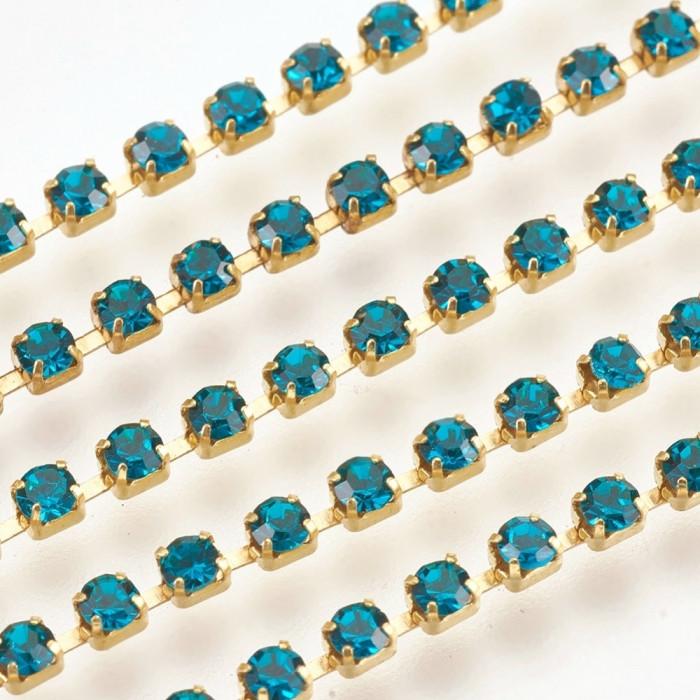 Цепь Латунь со Стразами 2мм, Класс А, Цвет металла: Золото, Цвет Страз: Голубой Циркон, Ширина 2мм, около 360шт/1.1м/ Упак.: 1.1м