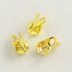 Каллоты из Железа, Зажимы концевики, раковина, Цвет: Золото, Размер: 6х3.5мм, Отв. 1мм, Диаметр внутри 2.4мм,