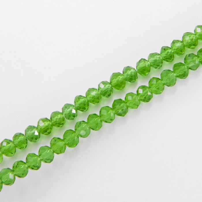 Бусины Стеклянные, Рондель, прозрачные, Цвет: Травяной, Размер: Диаметр: 3мм, Толшина: 2мм, Отверстие 0.5мм,