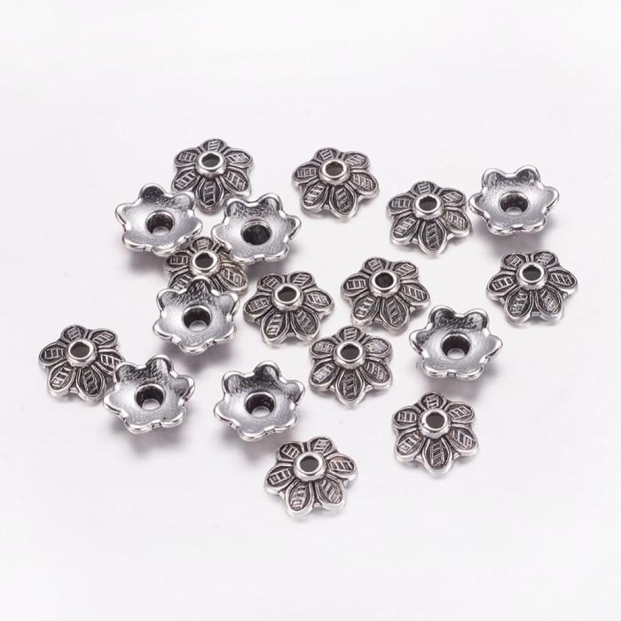 Шапочки для Бусин Металлические, Цветок, Цвет: Античное Серебро, Размер: 10.5х3.5мм, Отверстие 2мм/ Упак.: 20 шт