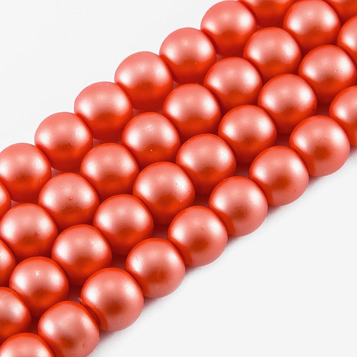 Жемчуг Monisto Стекло Матовый 8-8.5x7.5-8мм Цвет: Красный около 100шт/нить