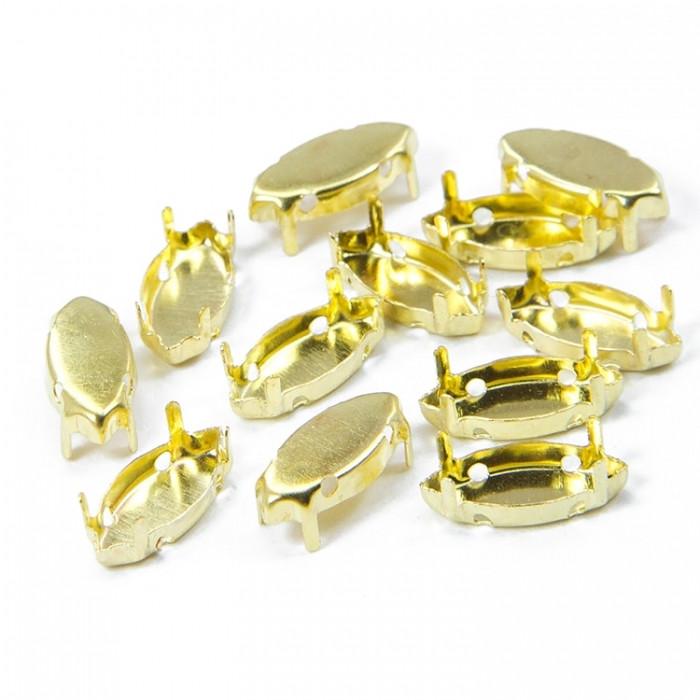 Цапы для Риволи Monisto Латунь 15x7x0.25мм Отверстие 1мм под Стразы 7x15мм Цвет: Золото 20шт