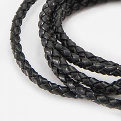 Шнур Monisto Натуральная Кожа Плетеный 3мм Цвет: Черный 1м