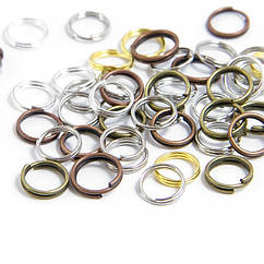 Колечки Двойные, Железные, Цвет: Микс, Размер: 5мм, Толщина 0.7мм, 50г/около 650шт, 50 г