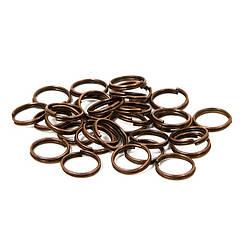 Колечки Двойные, Железные, Цвет: Медь, Размер: 4мм. Толщина 0.7мм, 50г/около 1000шт, 50 г