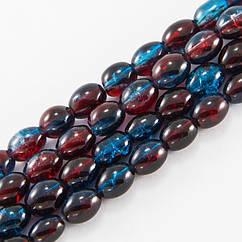"""Бусины """"Битое Стекло"""" Двухцветные, Овальные, Цвет: Красно-синий A47, Размер: 11х8мм, Отверстие 1.5мм, около"""