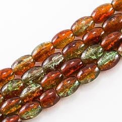 """Бусины """"Битое Стекло"""" Двухцветные, Овальные, Цвет: Оранжево-зеленый A76, Размер: 11х8мм, Отверстие 1.5мм,"""