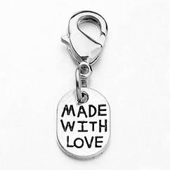 Кулон Made With Love, Металл, Карабин Латунь, Цвет: Античное Серебро, Размер: 25мм, Размер карабина: 12x7x3мм,