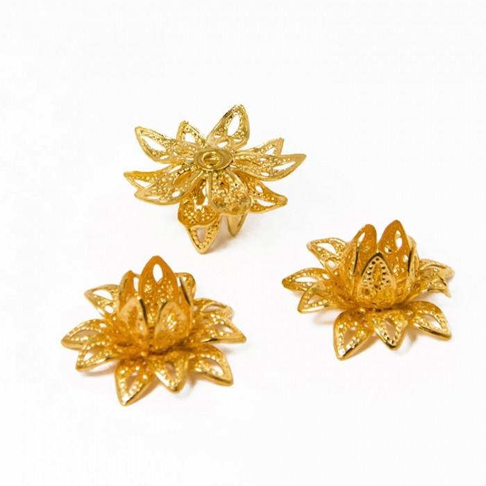 Шапочки для Бусин, Цветок, Латунь, Цвет: Золото, Размер: 16x8мм, Отверстие 1мм/ Упак.: 4 шт