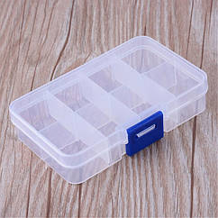 Контейнер для Бисера и Бусин, Пластик, Бесцветный, Прямоугольный, на 8 Отсеков, Размер: 10.8x7x2.3см, 1 шт
