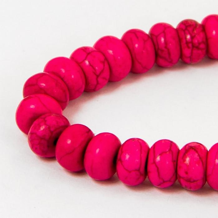 Бусины Синтетическая Бирюза, Окрашенные, На нитях, Рондель, Цвет: Розовый, Диаметр: 8мм, Толщина 5мм, Отв. 1мм, около 80шт/40см/нить