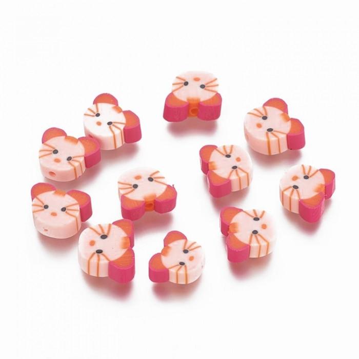 Бусины из Полимерной Глины, Ручная Работа, Кот, Цвет: Розовый, Размер: 11х10~11х3~4мм, Отверстие 1мм/ Упак.: