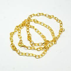 Основа для Браслета с Застежкой, Железная, Цвет: Золото, Размер: 205мм, Толщина: 1x0.8мм, Карабин: 12x7x3мм,