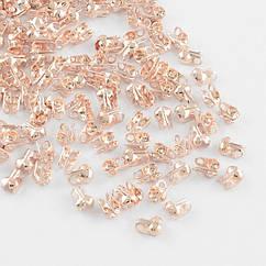 Каллоты из Железа, Зажимы концевики, раковина, Цвет: Розовое Золото, Размер: 4х2мм, Отв. 1мм, Диаметр внутри