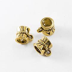 Бейл Monisto Металлический Сплав 10x7x7мм Отверстие 1мм и 4мм Цвет: Античное Золото 25шт