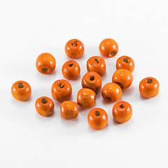 Бусины Дерево Окрашенные, Круглые, Цвет: Оранжевый, Размер: 8x7мм, Отв-тие: 3мм, ок. 300шт/50г, 50 г