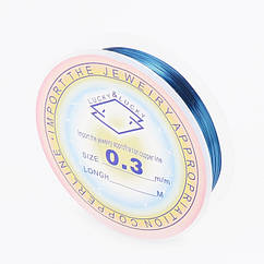 Медная Проволока, Цвет: Голубовато-Стальной, Толщина 0.3мм, 20м/катушка