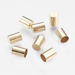 Концевики Для Шнура, Железо, Цвет: Светлое Золото, Размер: 7х5мм, Отверстие 4мм, 20 шт