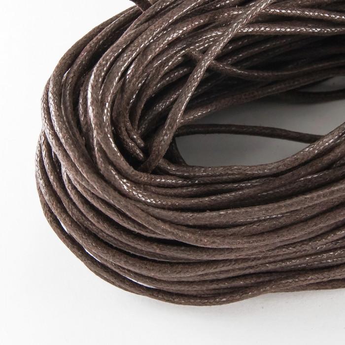 Шнур Вощеный Хлопковый, Цвет: Темно-rоричневый, Размер: Толщина 1.5мм, около 80м/связка
