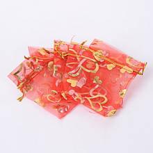 Подарочный Мешочек из Органзы, Прозрачный, Цвет: Красный, Размер: 18x13см, (УТ100019257)