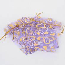 Подарочный Мешочек из Органзы, Прозрачный, Цвет: Сиреневый, Размер: 18x13см, (УТ100019258)
