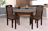 """Деревянный овальный стол обеденный для кухни """"Неаполь"""" орех темный"""