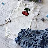 Літній костюм зі спідницею на дівчинку. Розмір 62 см, 68 см, 80 см, фото 4