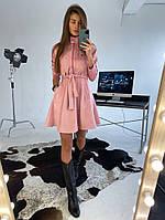 Стильное замшевое платье с карманами, фото 1