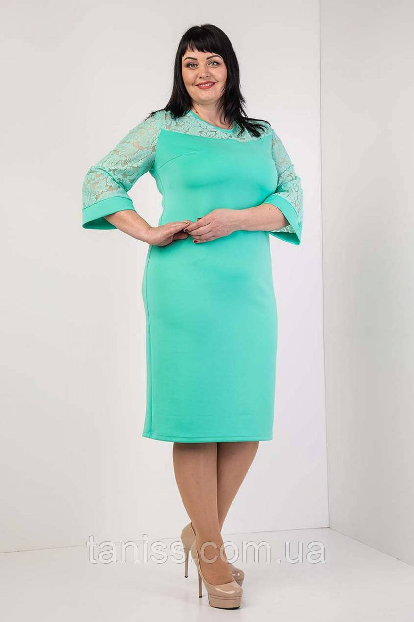 """Женское,весеннее, нарядное платье """" Альбина"""", ткань креп-дайвинг,гипюр, размеры 54,56,58. мята, сукня"""