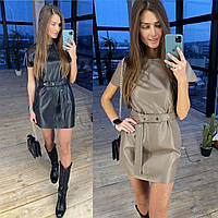 Стильное платье из эко-кожи с коротким рукавом, фото 1