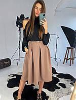 Широкая юбка из костюмной ткани с карманами, фото 1