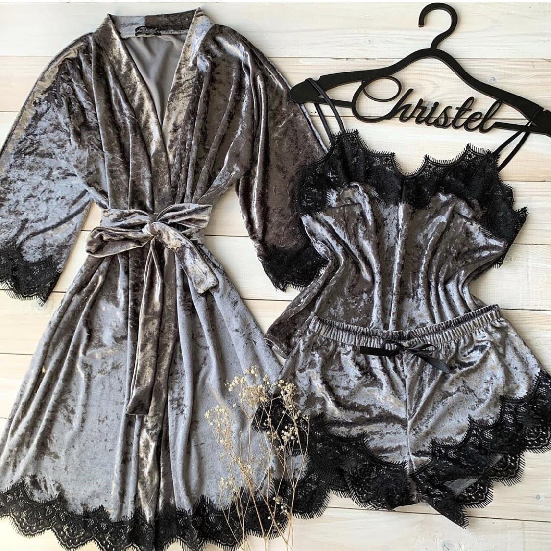 Велюровый набор (халат+пижама) серый
