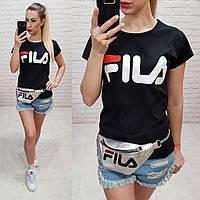 Женская футболка реплика Fila Турция 100% катон черная, фото 1