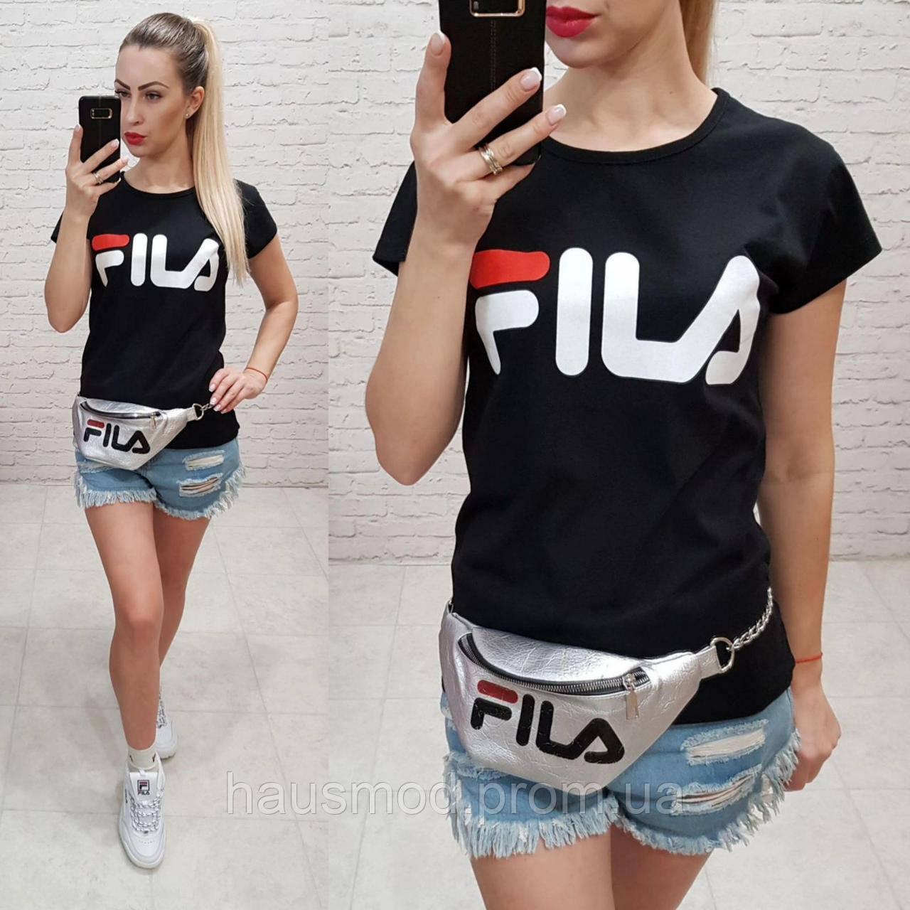 Женская футболка реплика Fila Турция 100% катон черная