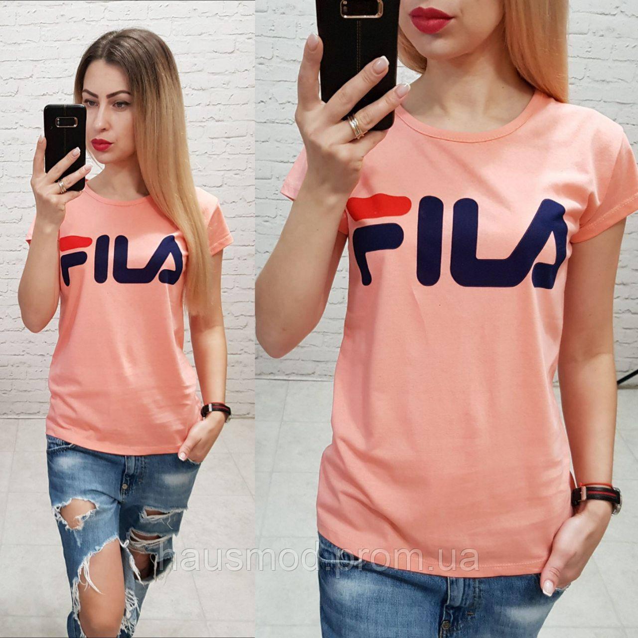 Женская футболка реплика Fila Турция 100% катон персиковая