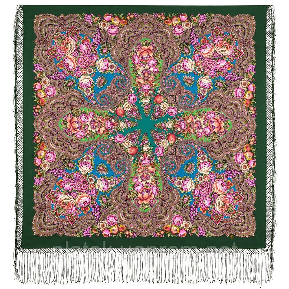 Цвет граната 1875-10, павлопосадский платок (шаль) из уплотненной шерсти с шелковой вязаной бахромой